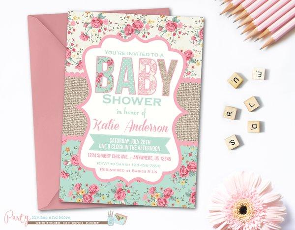 burlap shabby chic baby shower, baby shower invitation | party, Baby shower invitations