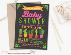 Fiesta Cactus Baby Shower Invitation for a Girl