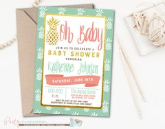Hawaiian Pineapple Luau Baby Shower Invitation