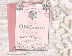 Winter Birthday Invitation, ONEderland Birthday Invitation, Snowflake Birthday Invitation, Winter Onederland, Pink and Silver Birthday