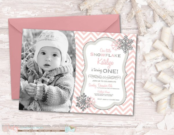 Winter Birthday Invitation Winter ONEderland Birthday Invitation – Snowflake Birthday Invitations