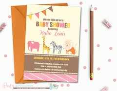 Animal Zoo Parade Baby Shower Invitation