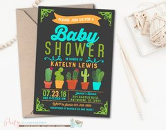 Fiesta Cactus Baby Shower Invitation for a Boy