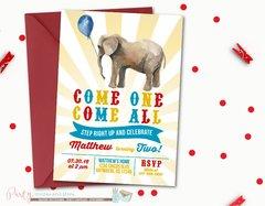 Carnival Birthday Invitation, Circus Birthday Invitation, Birthday Invitation, Carnival Birthday Party, Circus Birthday Party, Elephants