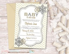 Snowflake Baby Shower Invitation, Baby It's Cold Outside Baby Shower Invitation, Winter Baby Shower Invitation, Snowflakes, Silver and Gold