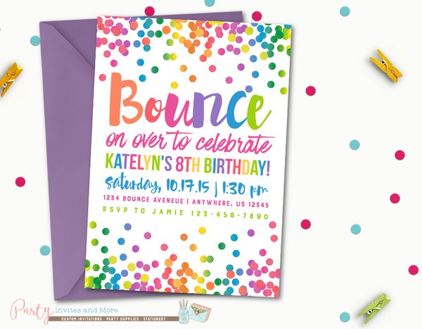 jump birthday invitation bounce birthday invitation rainbow party invites and more. Black Bedroom Furniture Sets. Home Design Ideas