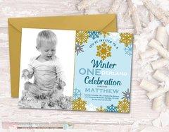 Winter Birthday Invitation, Winter ONEderland Birthday Invitation, Snowflake Birthday Invitation, Winter Onderland, Blue, Silver, Gold