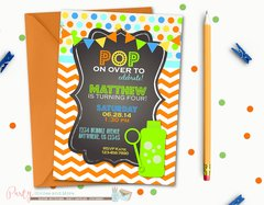 Bubbles Birthday Invitation, POP Birthday Invitation, First Birthday Invitation, Summer Birthday Invitation, Chevron Birthday Invitation