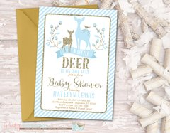 Deer Baby Shower Invitation, Deer Invitation, Blue and Gold Baby Shower Invitation, Blue and Gold Winter Invitation, Winter Baby Shower