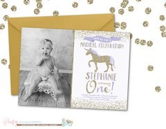Purple and Gold Unicorn Birthday Invitation, Purple and Gold Unicorn Invitation, Birthday Invitation, Unicorn Birthday Invitation, Unicorns