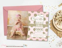 Sparkle Birthday Invitation, Blush Pink Invitation, Pink and Gold Birthday Invitation, Glitter Birthday Invitation, Blush and Gold Birthday