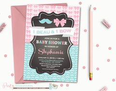 Twins Baby Shower Invitation, Boy/Girl Baby Shower Invitation, Boy and Girl Baby Shower, Beau and Bow, Mustache and Bow, Bows and Mustaches