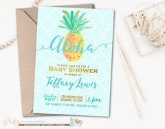 Blue and Gold Aloha Pineapple Baby Shower Invitation