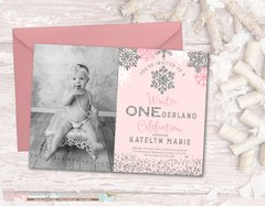 Winter Birthday Invitation, ONEderland Birthday Invitation, Snowflake Birthday Invitation, Winter Onederland, Pink and Silver Birthday