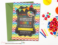 Chalkboard Rainbow Art Birthday Invitation