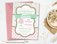 Cake Decorating Birthday Invitation, Baking Birthday Invitation, Baking Party, Cake Decorating Party, Retro