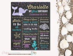 Mermaid Chalkboard Poster, First Birthday Chalkboard Poster, Birthday Milestone Chalkboard
