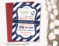 Nautical Bachelorette Invitation, Navy and Gold, Glitter Bachelorette Shower Invitation, Glam, Tying the Knot, Bachelorette Party