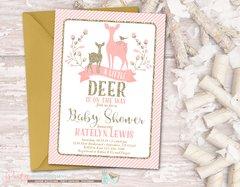 Deer Baby Shower Invitation, Deer Invitation, Pink and Gold Baby Shower Invitation, Pink and Gold Winter Invitation, Winter Baby Shower