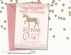 Pink and Gold Unicorn Birthday Invitation, Pink and Gold Unicorn Invitation, Birthday Invitation, Unicorn Birthday Invitation, Unicorns