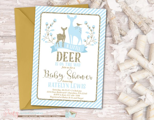 Deer Baby Shower Invitation Deer Invitation Blue and Gold Baby