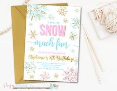 Girl Winter Snowflake Wonderland Birthday Invitation