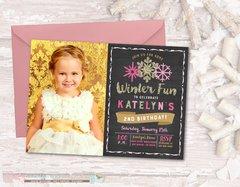 Winter Birthday Invitation, Snowflake Birthday Invitation, Chalkboard Birthday Invitation, Pink and Gold Birthday Invitation, Snowflakes