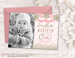 Winter Birthday Invitation, Winter ONEderland Birthday Invitation, Snowflake Birthday Invitation, Winter Onderland, Pink and Gold
