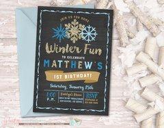 Winter Birthday Invitation, Snowflake Birthday Invitation, Chalkboard Birthday Invitation, Blue and Gold Birthday Invitation, Snowflakes