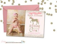 Pink and Gold Unicorn Birthday Invitation, Pink and Gold Unicorn Invitation, Birthday Invitation, Unicorn Birthday Invitation, Unicorns