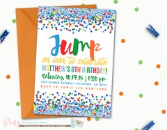 Jump Birthday Party, Bounce Party Invitation, White