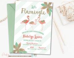 Flamingo Baby Shower Invitation, Flamingo Invitation, Flamingle, Coral and Mint Baby Shower, Summer Baby Shower, Pool Party, Flamingos