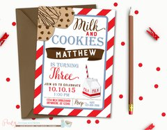 Milk and Cookies Birthday Invitation, Cookies and Milk, Birthday Invitation, Printable Invitation, Cookies Birthday Invitation
