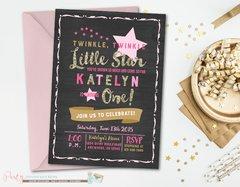 Twinkle Twinkle Little Star Birthday Invitation, Twinkle Twinkle Little Star, Pink and Gold, Glitter, Twinkle Twinkle Little Star Invitation