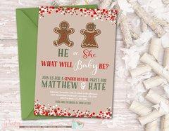 Gingerbread Invitation, Gender Reveal Invitation, Winter Gender Reveal Invitation, Holiday Gender Reveal, Baby Shower, Gingerbread