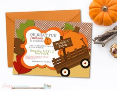 Pumpkin Birthday Invitation, Pumpkin Patch Birthday Invitation, Fall Birthday Invitation, Pumpkins, First Birthday Invitation