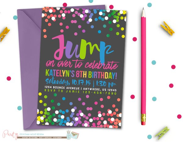 Jump Birthday Invitation Bounce Birthday Invitation