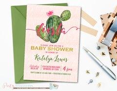 Fiesta Pink Cactus Baby Shower Invitation