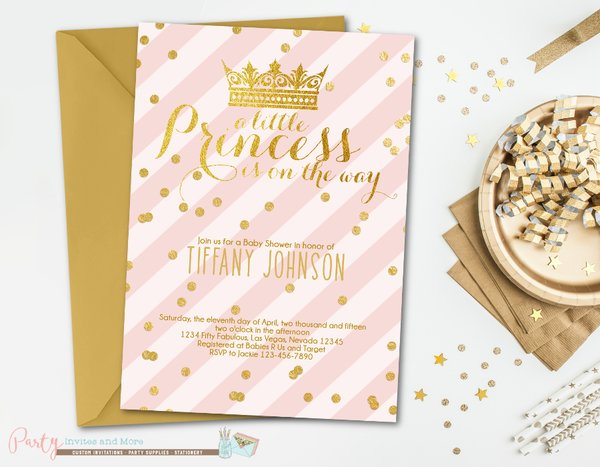 Pink and Gold Baby Shower Invitation, Princess Baby Shower Invitation, Girl Baby Shower Invitation, Glam, Blush Pink and Gold Invitation