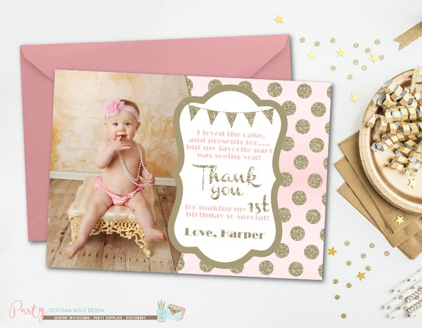 Blush pink and gold thank you card birthday thank you card party blush pink and gold thank you card birthday thank you card glitter thank you card first birthday thank you cardglam photo thank you bookmarktalkfo Image collections