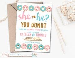 Gender Reveal Invitation, Donut Gender Reveal Invitation, Donut Baby Shower, Pink, White and Blue Donut Invitation, Doughnut Invitation