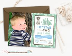 Aloha Hawaiian Luau Boy Birthday Invitation with Pineapples