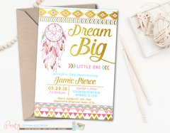 Tribal Baby Shower Invitation, Aztec Baby Shower Invitation, Tribal Invitation, Dreamcatcher Invitation, Dreamcatcher Baby Shower Invitation