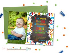 Alphabet ABC's 1st Birthday Invitation with Photo
