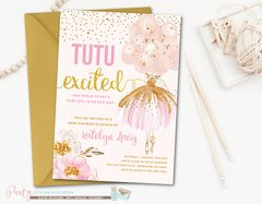 Ballerina Pink and Gold Tutu Baby Shower Invitations, Tutu Excited