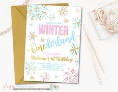 Winter Birthday Invitation, ONEderland Birthday Invitation, Snowflake Birthday Invitation, Winter Onederland, Purple and Silver Birthday