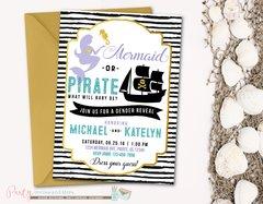Mermaid or Pirate Gender Reveal Invitation, Gender Reveal Invitation, Pirate or Mermaid Gender Reveal, Gender Reveal Party Invitation
