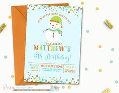 Snowman Invitation, Snowman Birthday Invitation, Winter Birthday Invitation, Christmas Birthday Invitation, Blue Winter Invitation