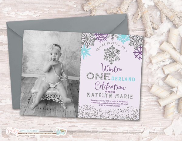 winter photo birthday invitation winter onederland birthday invitation snowflake birthday invitation winter onderland - Winter Onederland Party Invitations