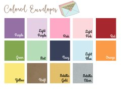 Colored or White Envelopes - Set of 10 - A6 (4.75 x 6.5) - For 4x6 Invitations or Announcements